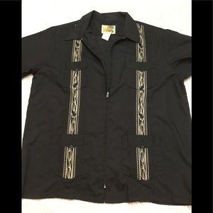 Zip Guayabera Shirt Short Sleeves Beige Embroider